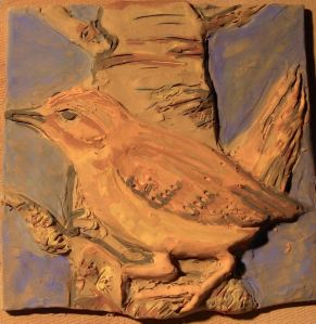 Unfired Wren in Birth Tree - Underglazed and ready for Bisque Fire