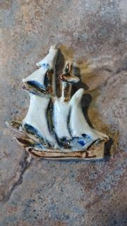 Ceramic Tall Ship Pin