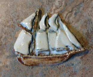Ceramic Tall Ship Coat Pin