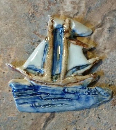 Ceramic Tall Ship Pin