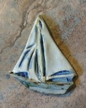 Ceramic Tall Ship Coat Pin