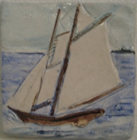 Tall Ship 5.5 in. hand drawn, painted - low relief tile.