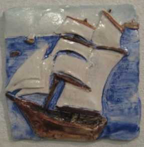 Hand Sculpted and painted Tall Ship Tile. 5.5 inch. With both to hang on wall.